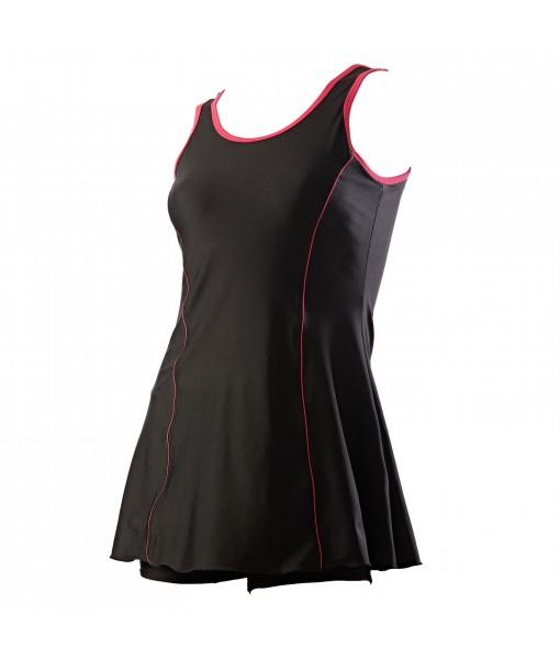 LYCOT Ladies A-Line Cut Sleeve attached HotShorts (In Leg) Plain Pattern  Swimwear
